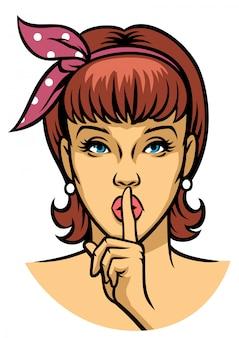 Vrouw die stilte vraagt