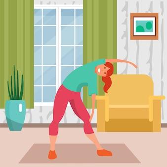 Vrouw die thuis, illustratie opleiden. meisje karakter fitnesstraining, levensstijl activiteit en oefening, jong lichaam.