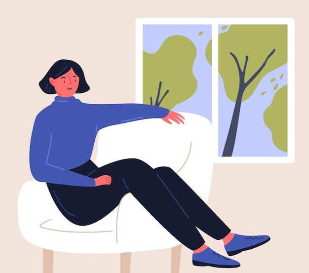 Vrouw die thuis in de stoel zit en naar het raam kijkt blijf thuis illustratie platte karakterontwerp