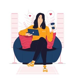 Vrouw die thuis ontspant en de illustratie van het koffiepauzeconcept krijgt