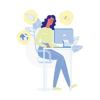 Vrouw die thuis vlakke vectorillustratie bestuderen