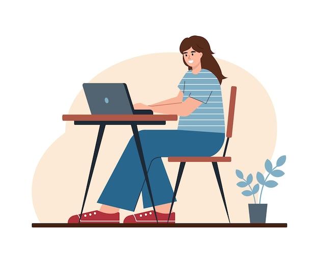 Vrouw die thuis werkt, student of freelancer.