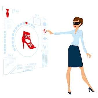Vrouw die toekomstige bedrijfsillustratie doen