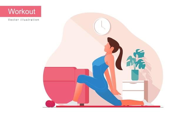 Vrouw die training doet binnen. yoga en fitness thuis