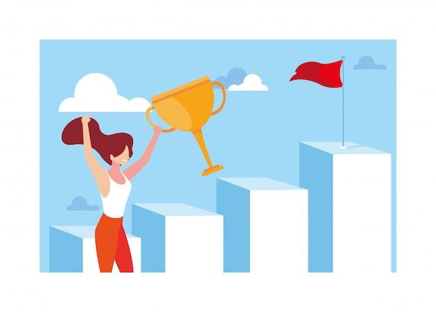 Vrouw die trap lanceren tot de bovenkant van berg, manier aan succes
