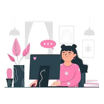 Vrouw die van haar huis telewerken concept werkt