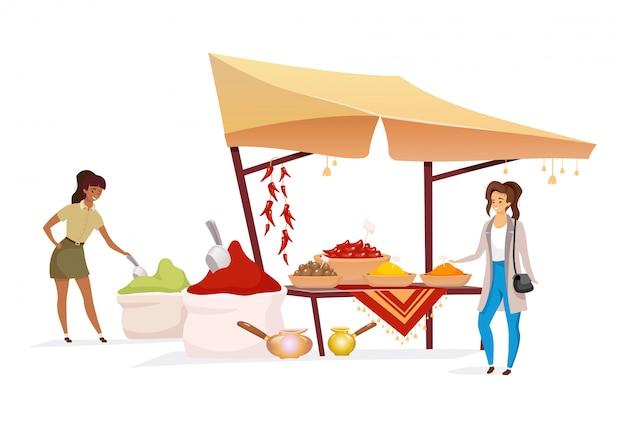 Vrouw die vector anonieme karakter van de kruiden het vlakke kleur kiezen. toerist kopen, winkelen op oost-markt. indiase bazaar luifel met kruiden geïsoleerde cartoon illustratie