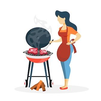 Vrouw die vleesbbq op witte achtergrond voorbereidt.
