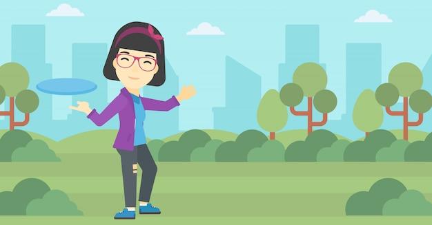 Vrouw die vliegende schijf vectorillustratie speelt.