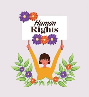 Vrouw die voor mensenrechtenillustratie protesteert