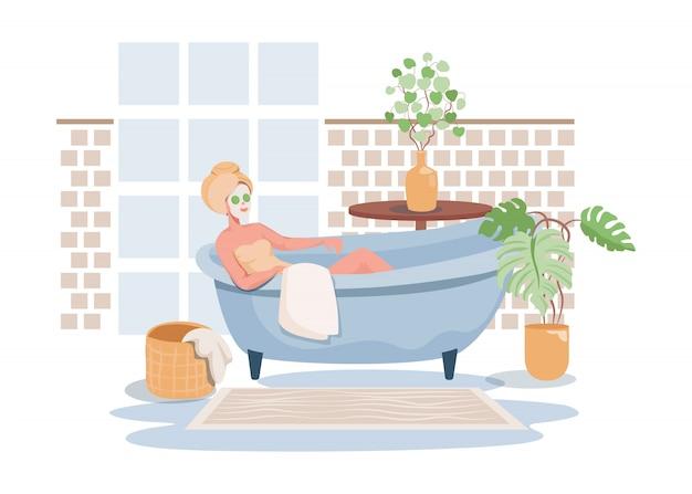 Vrouw die voor zichzelf vlakke illustratie zorgen. badtijd, spa-procedure in salon, hotel of thuis.