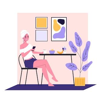 Vrouw die vroeg in de ochtend ontbijt. dagelijkse routine, gezond eten. jonge gelukkige volwassene aan de tafel zitten. illustratie in cartoon-stijl