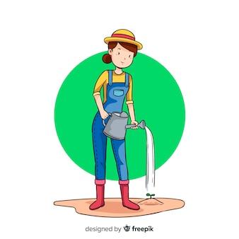 Vrouw die wat water op een installatie zet
