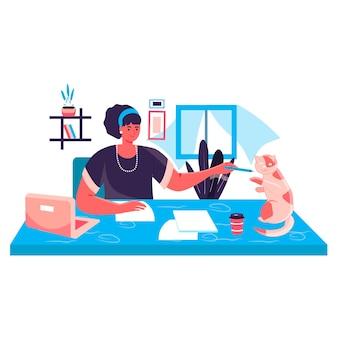 Vrouw die werkt op kantoor aan huis concept. freelancer tekenen en spelen met kat. freelance werkplek, werken op afstand aan projectkarakterscène. vectorillustratie in plat ontwerp met activiteiten voor mensen