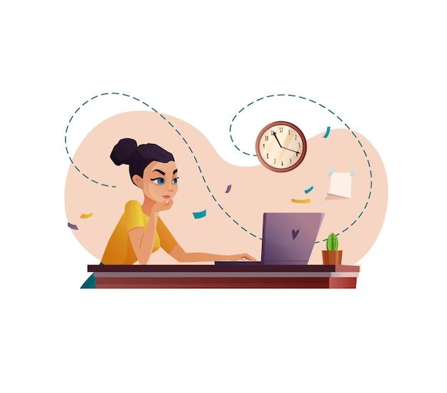 Vrouw die werkt via videogesprek, conferentie of onderwijs. onlinevergadering of opleiding.