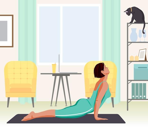 Vrouw die yoga beoefent bij het kabinet platte vectorillustratie
