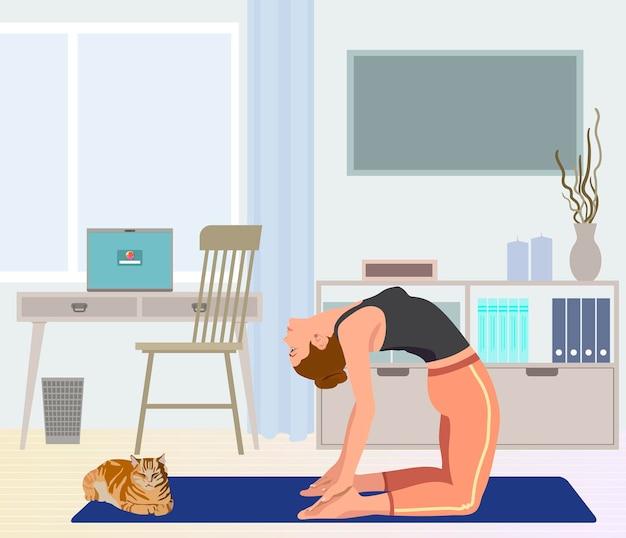 Vrouw die yoga beoefent bij kast met kat platte vectorillustratie