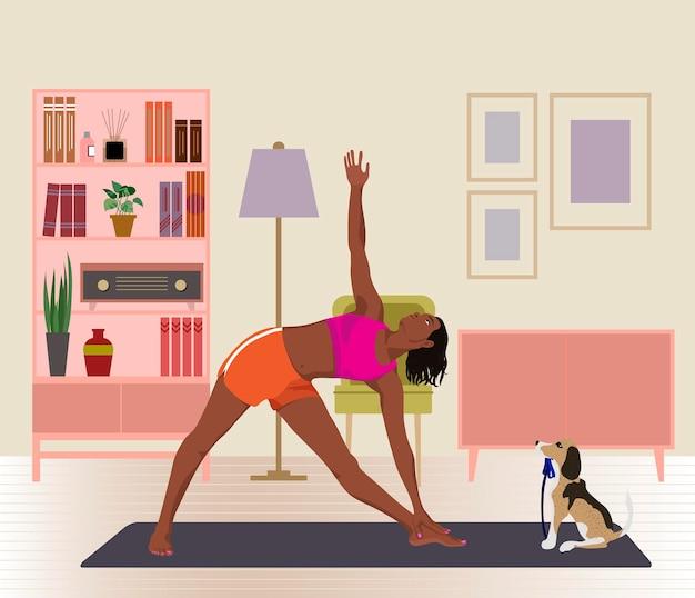 Vrouw die yoga beoefent in de woonkamer platte vectorillustratie