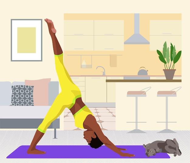 Vrouw die yoga beoefent voor de keuken platte vectorillustratie