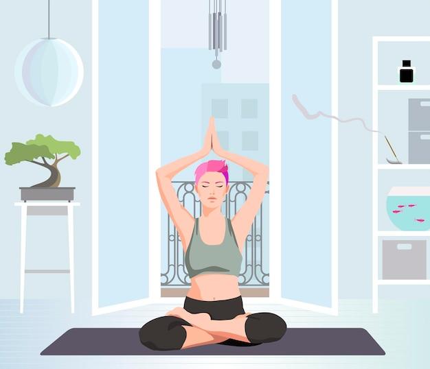 Vrouw die yoga beoefent voor het open raam platte vectorillustratie