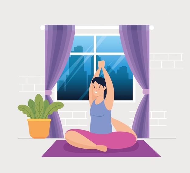 Vrouw die yoga in het ontwerp van de huis vectorillustratie doen