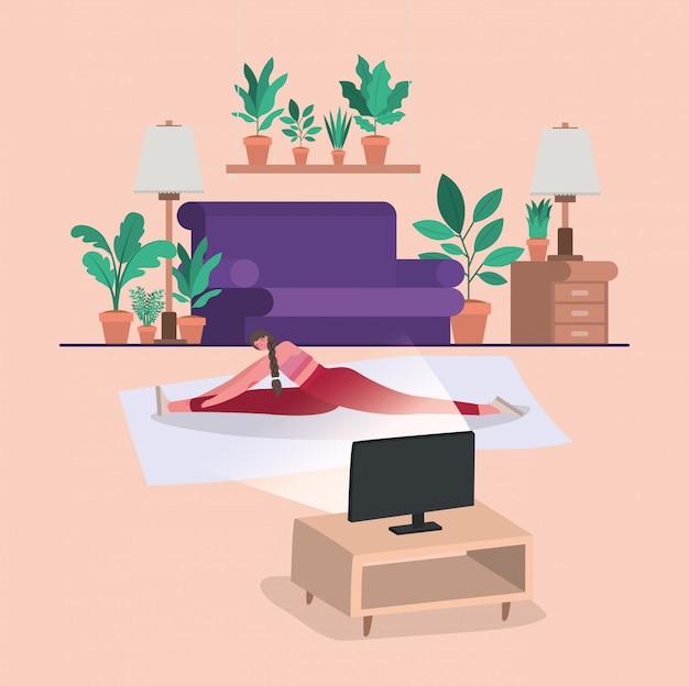 Vrouw die yoga op mat voor computerontwerp doen van verblijf thuis thema