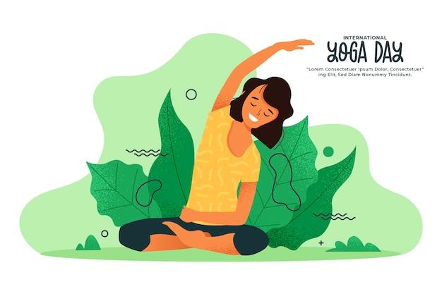 Vrouw die yogaoefeningen in de aard doet