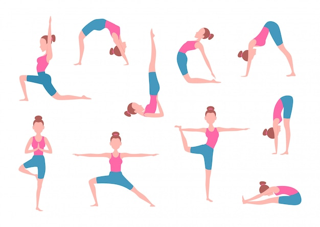 Vrouw die yogaoefeningen in verschillende poses maakt