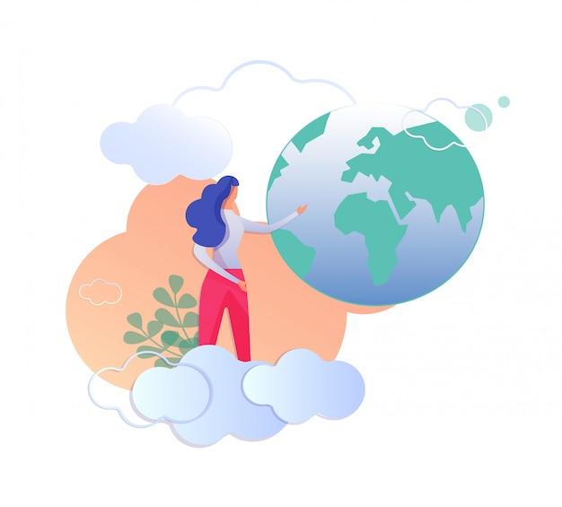 Vrouw die zich bij wolken bevindt die op de bol van de aarde richten.