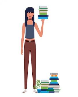Vrouw die zich met stapel boeken bevindt