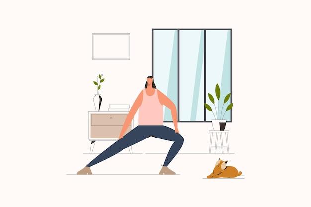 Vrouw die zich uitstrekt thuis platte vectorillustratie