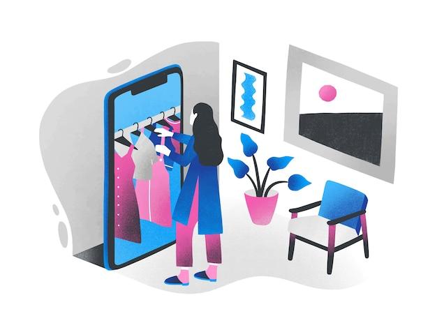 Vrouw die zich voor reusachtige smartphone bevindt en kleren kiest die op hangerrail erin hangen. concept van online winkelen, internetwinkel, digitale winkel. kleurrijke isometrische illustratie.