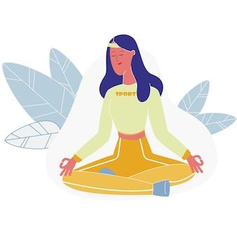 Vrouw die zitting in lotus-houding, yoga mediteren