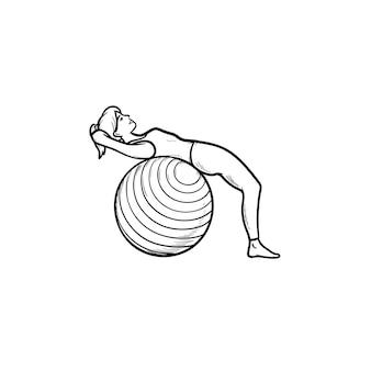 Vrouw doet abs oefeningen op fitball hand getrokken schets doodle pictogram. gezonde levensstijl, pilates, sportschoolconcept