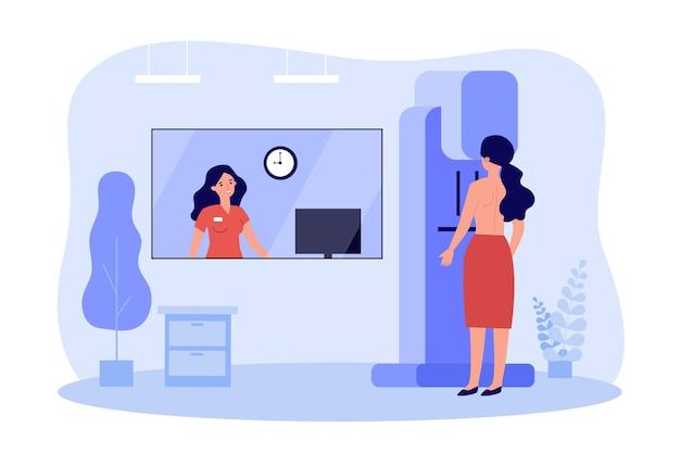 Vrouw doet borstonderzoek in kliniek in plat ontwerp