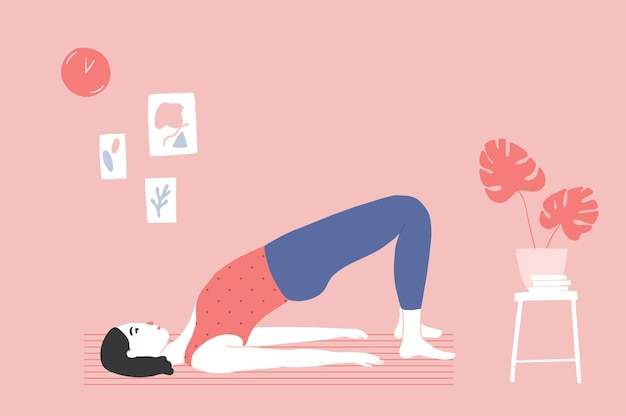 Vrouw doet bridge pose, yoga of pilates training thuis. gezellig roze kamer interieur. platte vectorillustratie.