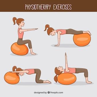 Vrouw doet fisiotherapie oefeningen