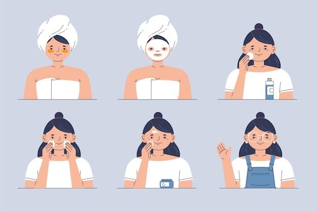 Vrouw doet haar huidverzorgingsroutine