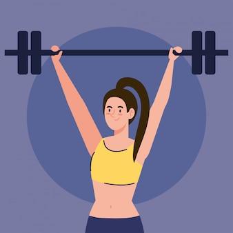 Vrouw doet oefeningen met gewicht bar buiten, sport recreatie concept