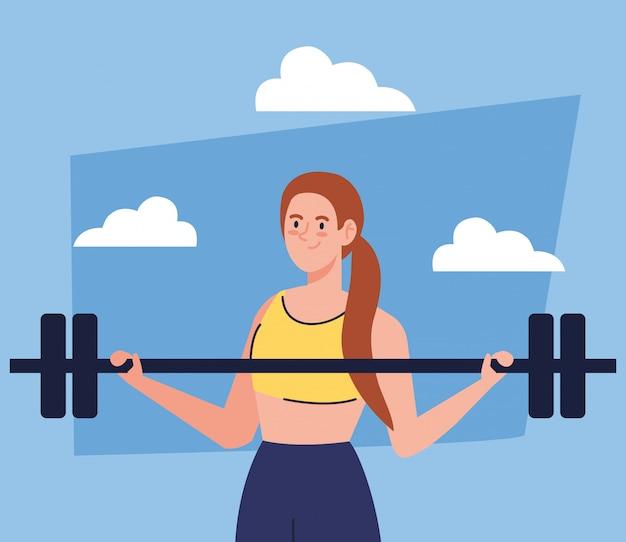 Vrouw doet oefeningen met gewicht bar buiten, sport recreatie oefening