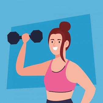 Vrouw doet oefeningen met halter, sport recreatie oefening