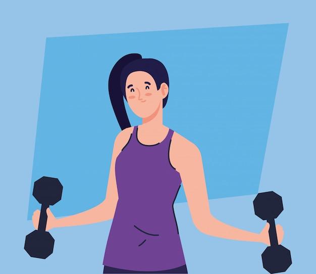 Vrouw doet oefeningen met halters, sport recreatie oefening