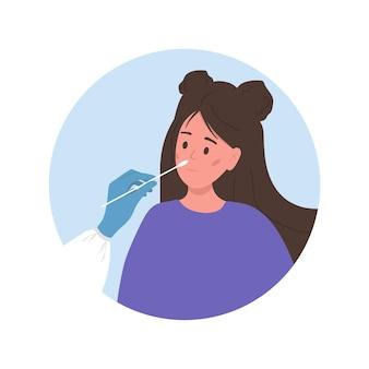 Vrouw doet pcr-test. nasale uitstrijkje laboratoriumanalyse.