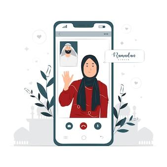 Vrouw doet videogesprek op ramadan kareem concept illustratie