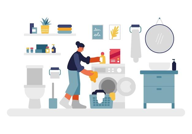 Vrouw doet was illustratie. vrouwelijke personage stopt dingen in de wasmachine en giet vloeibaar wasmiddel. gezellige badkamer met toilet en planken ronde spiegel boven nachtkastje vector plat.