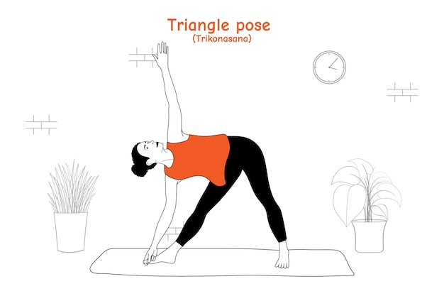 Vrouw doet yoga asana driehoek pose of trikonasana in vlakke hand getrokken stijl