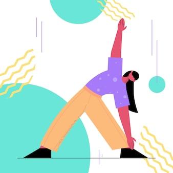 Vrouw doet yoga fitness oefeningen opleiding gezonde levensstijl actieve ouderdom concept