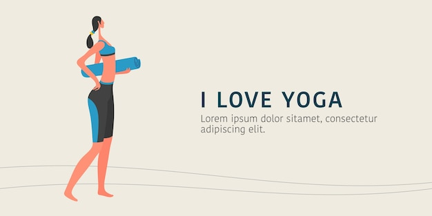 Vrouw doet yoga illustratie, jong vrouwelijk personage met een banner van de yogamat