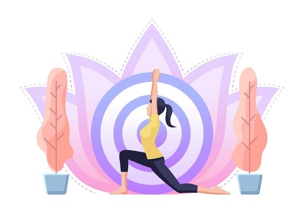 Vrouw doet yoga in krijger één pose. gezondheidszorg en meditatie concept.