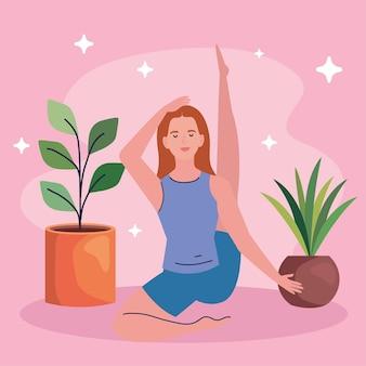 Vrouw doet yoga met planten